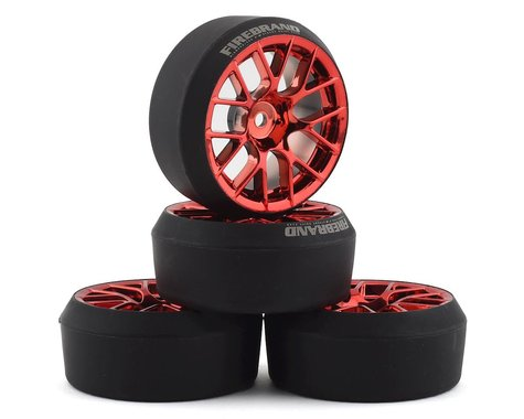 Firebrand RC Hypernova XDR 5° Pre-Mounted Slick Drift Tires (4) (Red Chrome)