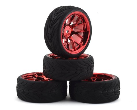 Firebrand RC Hypernova RT39 Pre-Mounted On-Road Tires (4) (Red Chrome)