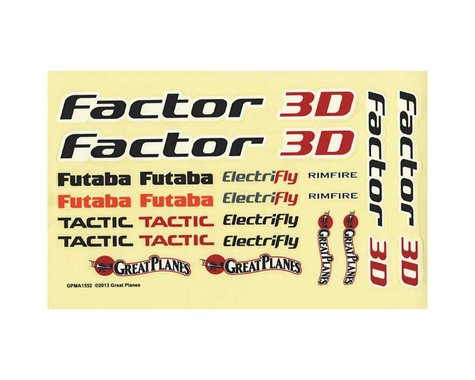 Great Planes Decals: Factor 3D EP ARF