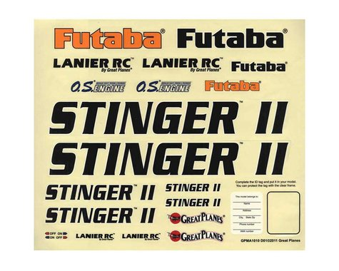 Great Planes Stinger II 46 ARF Decal Sheet
