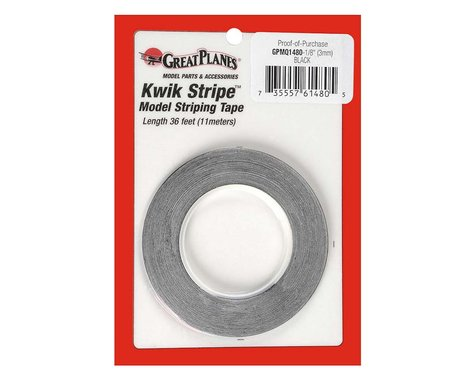 """Great Planes  Striping Tape Black 1/8"""""""