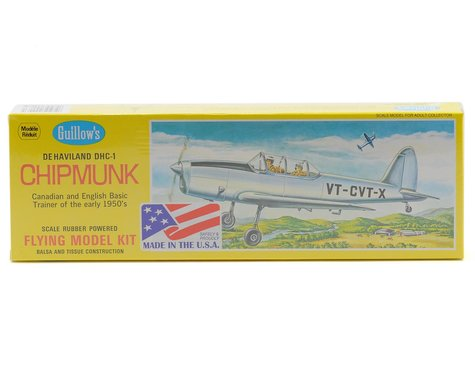 Guillow De Haviland DHC-1 Chipmunk Rubber Powered Flying Model Kit