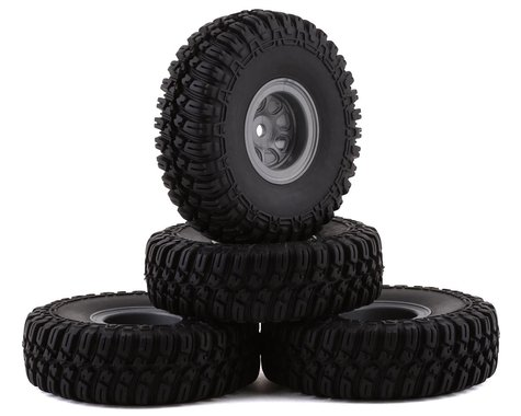 """HobbyPlus CR-18 T-Finder A/T 1.0"""" Pre-Mounted Tire Set (Grey) (4) (Beadlock)"""