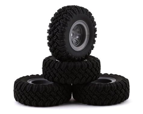 "HobbyPlus CR-24 Grabber M/T 1.0"" Pre-Mounted Tire Set (Grey) (4) (Beadlock)"