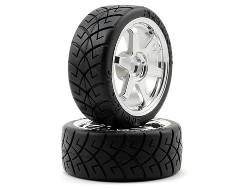 HPI 12mm Hex Pre-Mounted X-Pattern Tire (2) (0mm Offset) (Chrome)