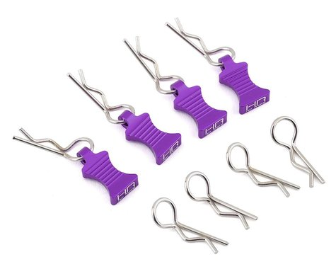 Hot Racing 1/10 Aluminum EZ Pulls w/Body Clips (Purple) (4)