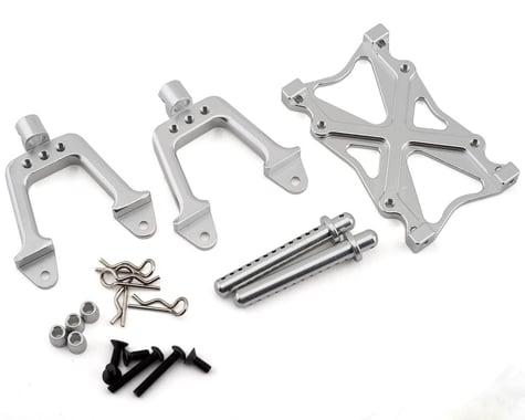 Team Integy SCX10 Rear Shock Mount & Brace Set w/Body Posts (Silver)