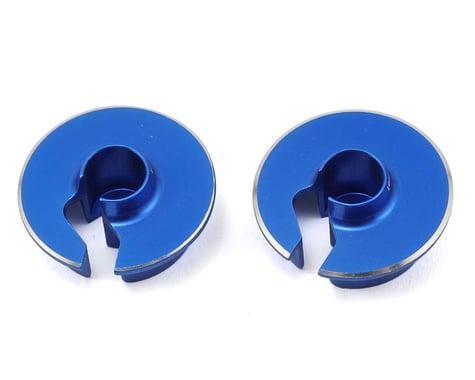JConcepts Fin Aluminum 0mm Off-Set Shock Spring Cup (Blue) (2)