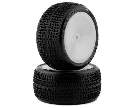 """JConcepts Twin Pins 2.2"""" Pre-Mounted Rear Buggy Carpet Tires (White) (2) (Pink)"""