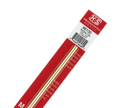 """K&S Engineering Round Brass Tube 7/32"""", Carded"""