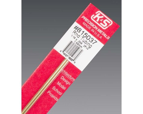 """K&S Engineering Round Tubing 1/16"""" 2 pcs, Carded"""