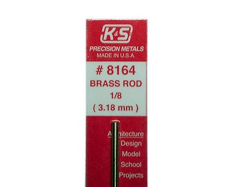 """K&S Engineering Solid Brass Rod 1/8"""", Carded"""