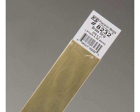 "K&S Engineering Brass Strips 12"", .016 X 1"", Carded"