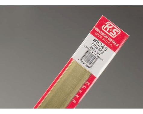 "K&S Engineering Brass Strips 12"", .032 X 3/4"", Carded"