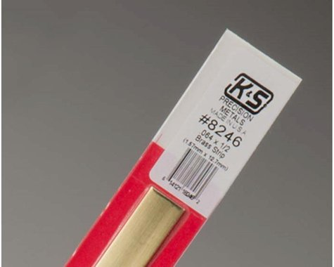 "K&S Engineering Brass Strips 12"",. 064 X 1/2"", Carded"