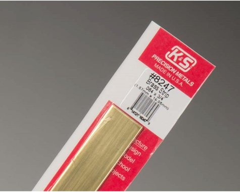 "K&S Engineering Brass Strips 12"", 064 X 1"", Carded"