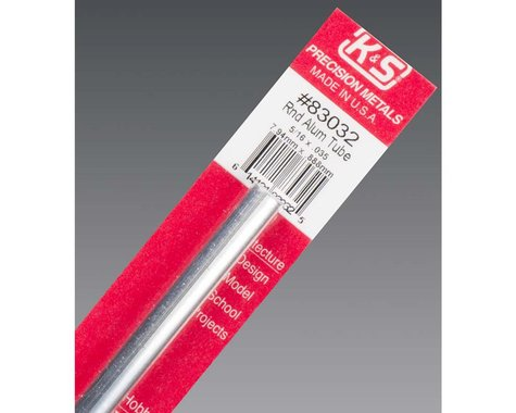 """K&S Engineering Round Aluminum Tube .035 Wall 5/16"""", Carded"""