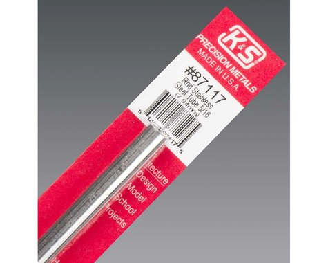 """K&S Engineering Round Stainless Steel Tube 5/16"""", Carded"""