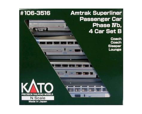Kato N Scale Superliner Amtrak Set (4) (Phase IVb B)