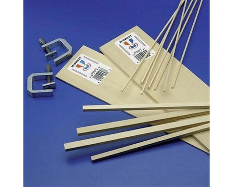 """Midwest Basswood Strips 1/16 x 1/8 x 24"""" (1)"""