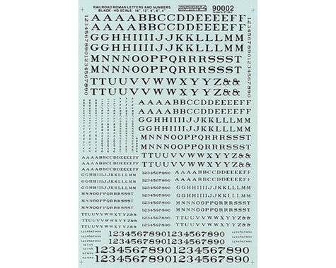HO Letters & Numbers, Roman/Black
