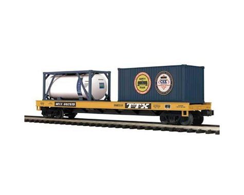 MTH Trains O Flat w Tank Container & 20' Container CSX