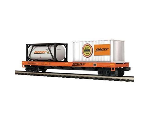 MTH Trains O Flat w Tank Container & 20' Container BNSF