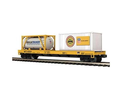 MTH Trains O Flat w Tank Container & 20' Container UP #800911