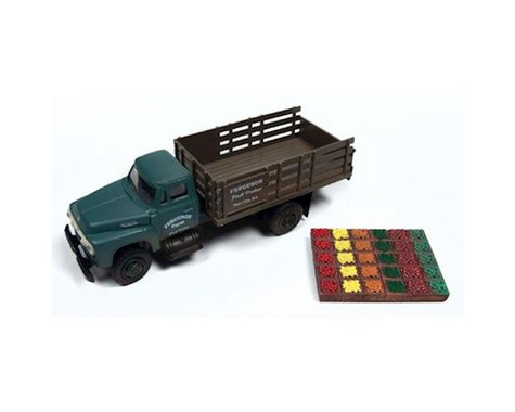 Classic Metal Works HO 1954 Ford Stakebed Truck & Produce Crates, Farm
