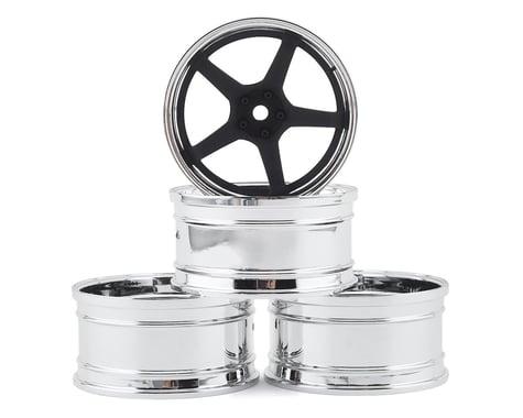 MST GT Wheel Set (Chrome/Black) (4) (Offset Changeable)