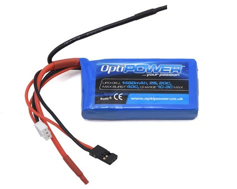 Optipower 2S 20C LiPo Receiver Battery (7.4V/1450mAh)