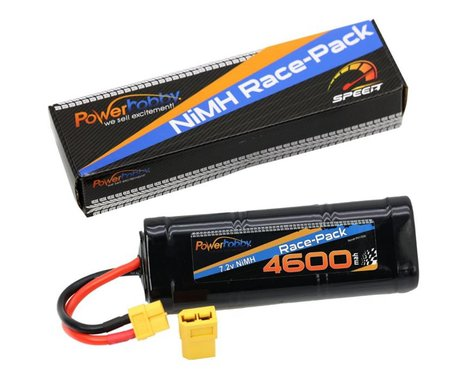 Power Hobby 7.2V 6-Cell 4600mAh NiMH Flat Battery Pack with XT60 & TRX HC Plug Adapter PHBPH1506