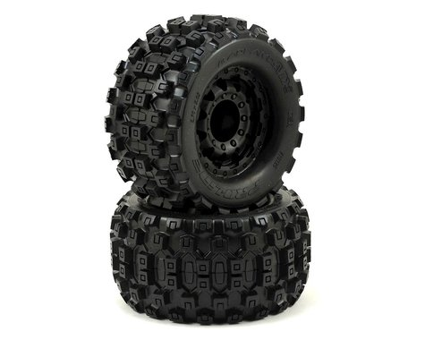 "Pro-Line Badlands MX28 2.8"" Tires w/F-11 Nitro Rear Wheels (2) (Black)"