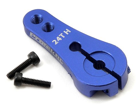 ProTek RC 4mm Aluminum Long Clamping Servo Horn (Blue) (24T-Hitec)