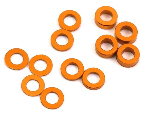 ProTek RC Aluminum Ball Stud Washer Set (Orange) (12) (0.5mm, 1.0mm & 2.0mm)