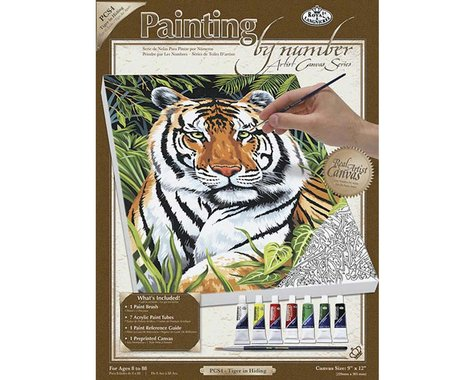 Royal Brush Manufacturing PCS4 PBN Canvas Tiger in Hiding 9x12