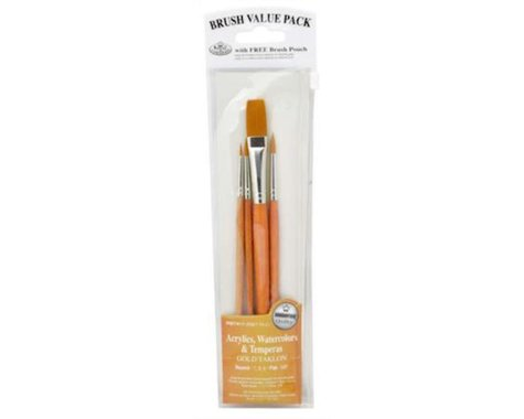 Royal Brush Manufacturing Gold Taklon Value Brush Set (4)