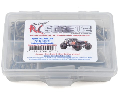 RC Screwz Kyosho FO-XX Nitro 1/8th Stainless Steel Screw Kit
