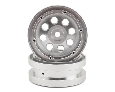 """Redcat Aluminum 1.9"""" Beadlock 12mm Hex Wheel w/Rings (Silver) (2)"""