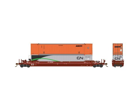 Rapido Trains HO 53'Well Car w 2 Containers CPR #527332