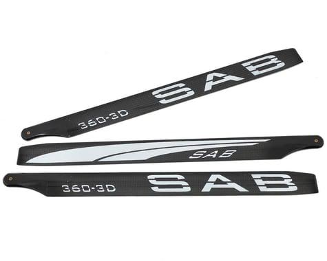 SAB Goblin 360mm Blackline 3D Carbon Fiber Main Blades (White) (3-Blade)