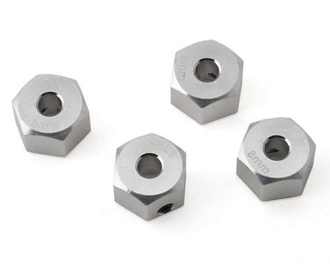 Samix SCX10 II Aluminum 12mm Hex Adapter (Silver) (4) (+8mm Offset)
