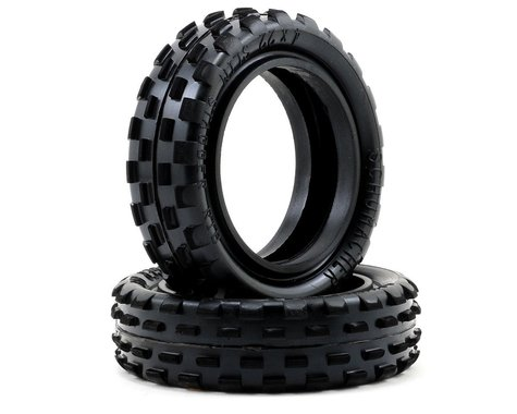 """Schumacher """"Stagger Rib"""" Slim 2.2"""" 1/10 2WD Buggy Front Carpet Tires (2) (Yellow)"""
