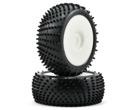 """Schumacher """"Spiral"""" Pre-Mounted 1/8 Buggy Tires (2) (White) (Yellow)"""