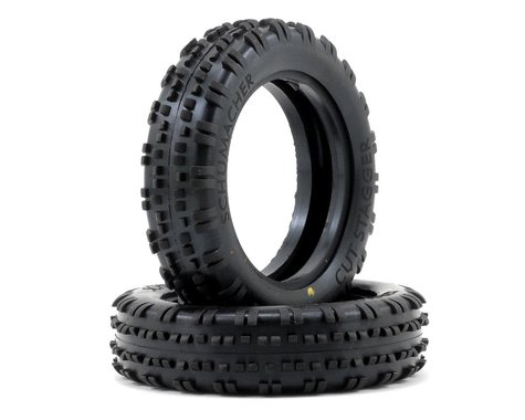 """Schumacher """"Cut Stagger"""" Slim 2.2"""" 1/10 2WD Buggy Front Carpet Tires (2) (Yellow)"""