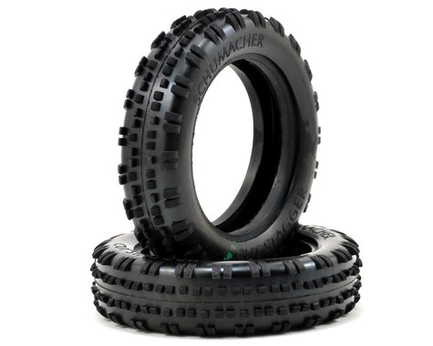 """Schumacher """"Cut Stagger"""" Slim 2.2"""" 1/10 2WD Buggy Front Carpet Tires (2) (Green)"""
