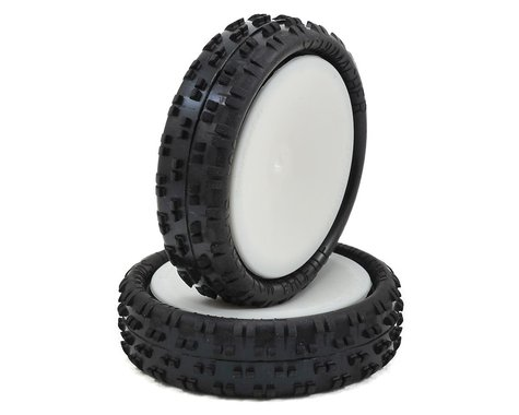 "Schumacher ""Cut Stagger"" Pre-Mounted 2.2"" 2WD Buggy Front Turf Tires (2) (Silver)"