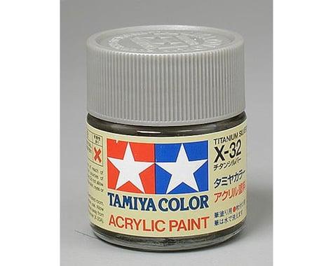Tamiya X-32 Titanium Silver Gloss Finish Acrylic Paint (23ml)