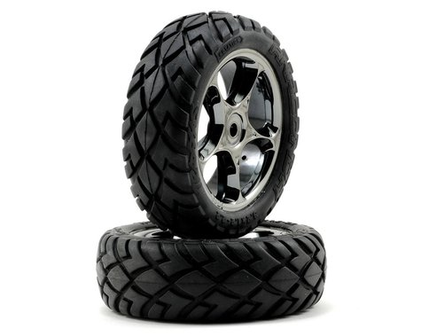 "Traxxas Anaconda Front Tires w/Tracer 2.2"" Wheels (2) (Black Chrome) (Standard)"