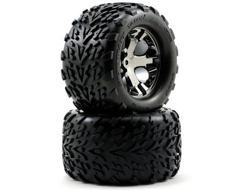 Traxxas Talon Rear Tires w/All-Star Wheels (2) (Black Chrome)